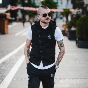 Γιλεκο φούτερ με κουκούλα μαύρο