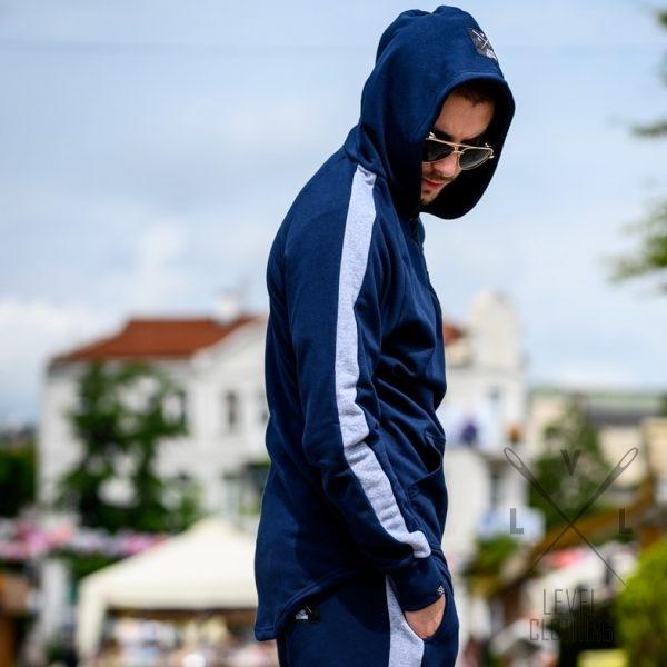 Φουτερ μπλε με κουκούλα