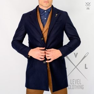 Ανδρικό Παλτό LEVEL Μπλε