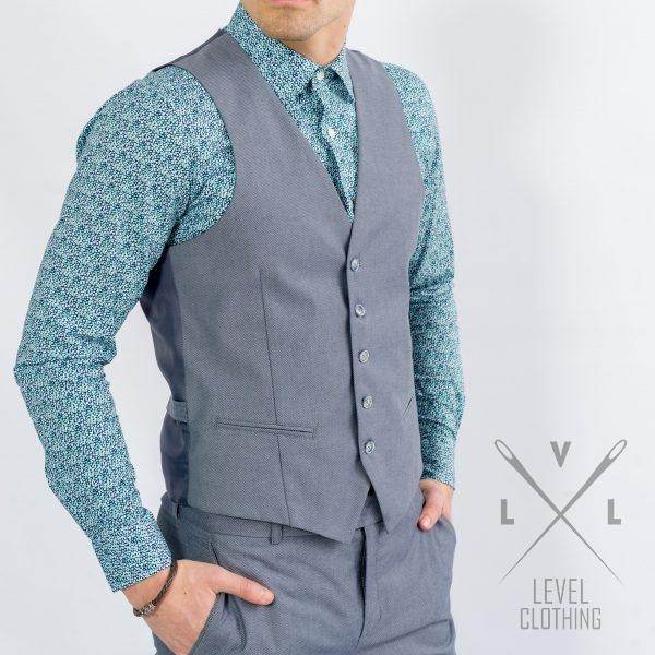 Ανδρικό κοστούμι με γιλέκο γκρι