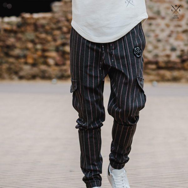 Ανδρικό Παντελόνι Φόρμας LEVEL γκρι με ρίγα