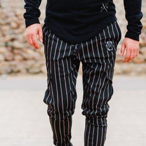 Ανδρικό Παντελόνι Φόρμας LEVEL μαύρο με ρίγα