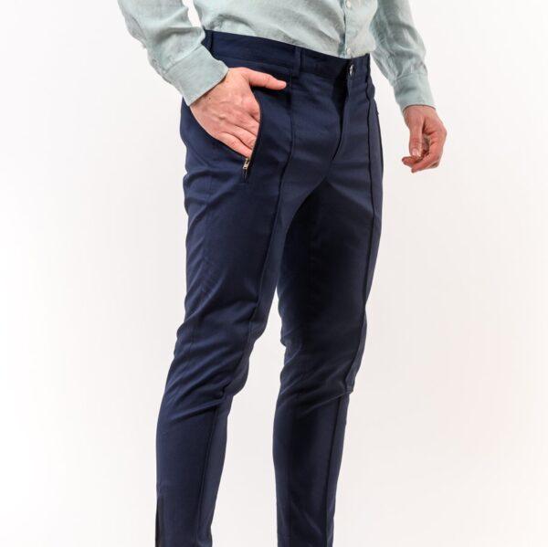 Ανδρικό Παντελόνι LEVEL Μπλε με φερμουάρ
