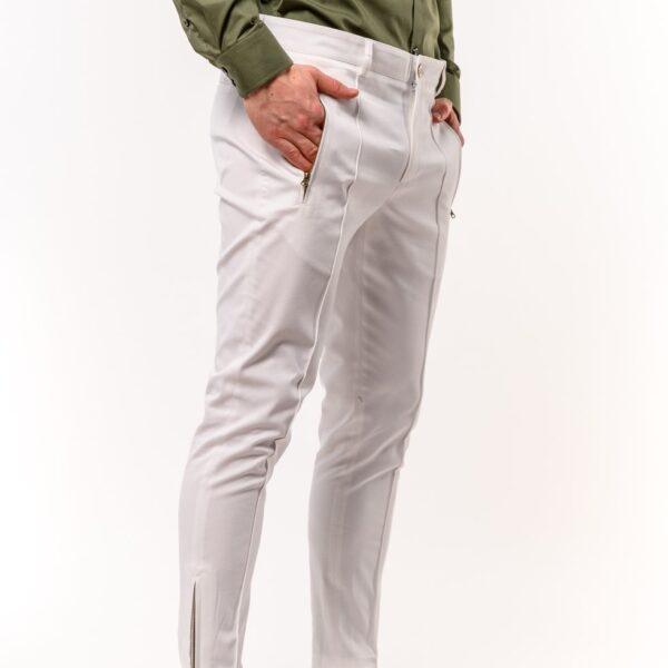 Ανδρικό Παντελόνι LEVEL Λευκό με φερμουάρ